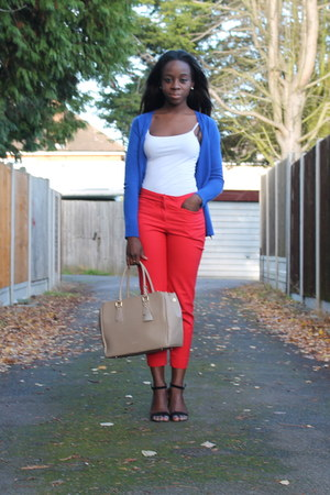 beige other bag - red H&amp;M pants - white Primark top - green Primark heels