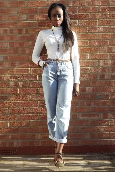 vintage jeans - Uniq top - Prima heels
