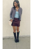 crimson DESV skirt - light blue Forever 21 jacket - ivory hm bag