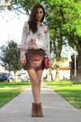 Burnt-orange-michael-kors-boots-hot-pink-forever-21-blouse