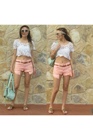 ivory Forever 21 top - lime green asos bag - salmon Forever 21 shorts
