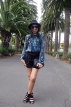 navy Sisley blouse - black pull&bear hat - black BLANCO bag
