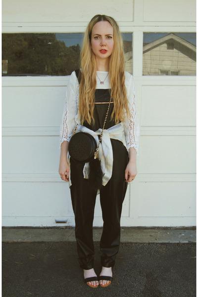 white ukulele shirt - cream Elizabeth and James shirt - black Nasty Gal purse