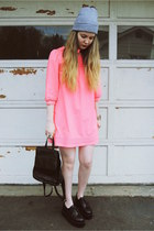 black gifted OASAP shoes - hot pink H&M dress - black vintage bag