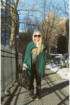 teal Sheinside coat - black 31 Phillip Lim bag - dark brown zeroUV sunglasses