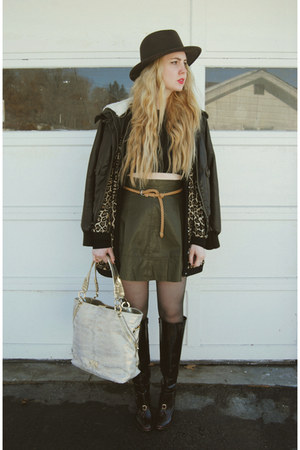 dark brown Forever 21 coat - crimson Pour La Victoire boots