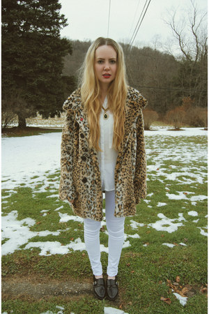 brown white crow coat - white necessary clothing pants - black shoemint flats