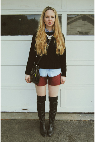 black gifted shoemint boots - black gifted Sheinside sweater