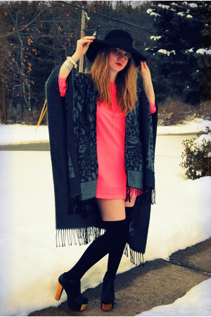 black Jeffrey Campbell shoes - hot pink H&M dress - black Forever 21 hat - black