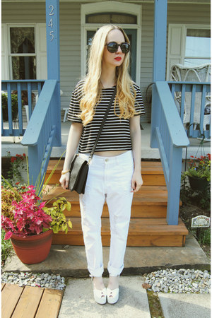white Jeffrey Campbell shoes - white own the runway jeans - black Choies shirt