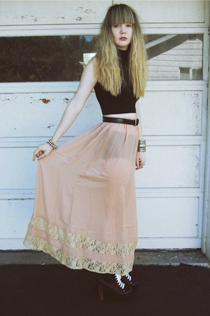 light pink Forever 21 skirt - black Jeffrey Campbell shoes