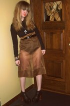 brown DIY skirt - black Target shirt - black Jeffrey Campbell shoes - silver vin