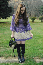 black gifted shoemint boots - purple Tunnel Vision dress