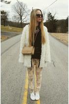 white Miss KL coat - peach gypsy warrior jeans - black lulus shirt