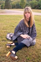 gray TJ Maxx scarf - blue Aeropostale jeans - black Jeffrey Campbell shoes