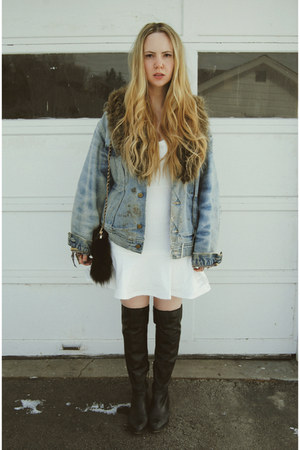 white Lulus dress - black shoemint boots - light blue Tunnel Vision jacket