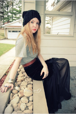 DIY skirt - Jeffrey Campbell shoes - H&amp;M hat - vintage belt