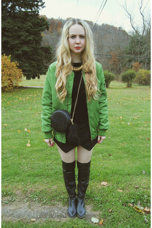 black shoemint boots - olive green Sheinside coat - black Lookbook Store skirt