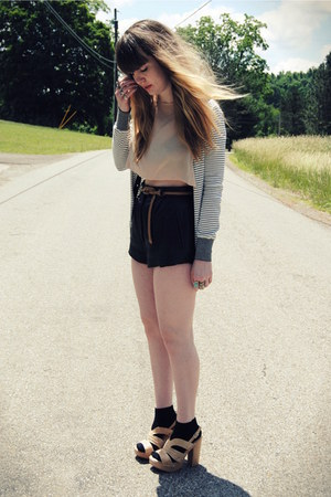 black leather vintage shorts - white Forever 21 cardigan - neutral Steve Madden