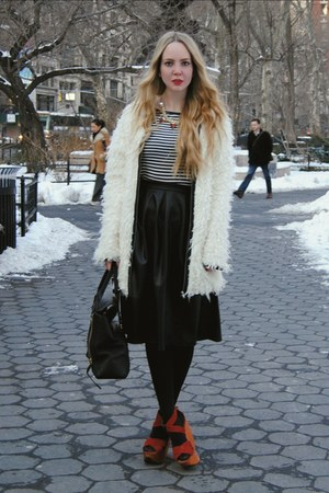 white Miss KL coat - black 31 Phillip Lim bag - black Boohoo skirt
