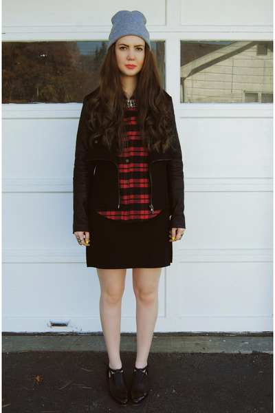black gifted Kill City jacket - ruby red thrifted shirt - black thrifted skirt