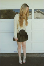 ivory Steve Madden heels - cream Sheinside sweater - black Nasty Gal bag