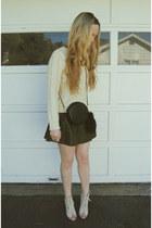 ivory Steve Madden heels - cream Sheinside sweater - black Nasty Gal bag