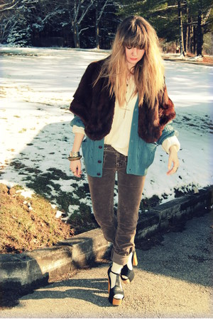 black Jeffrey Campbell shoes - sky blue vintage sweater - cream Forever 21 shirt