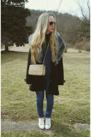 camel Chanel bag - black Boohoo coat - navy vintage jeans - cream Guess sneakers