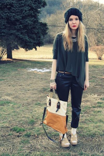 neutral Steve Madden shoes - black H&M hat - army green Forever 21 shirt - burnt