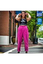 black Kult top - hot pink vintage pants