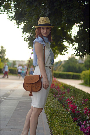 beige H&M hat - brown Oasapcom bag - white Front Row Shop pants