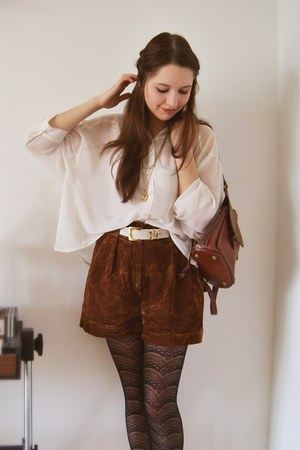 cream silk H&amp;M blouse - dark brown leather vintage bag