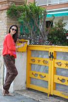 Zara blazer - vintage sunglasses - H&M t-shirt - leopard print Glow pants