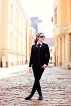 black H&M blazer - black Ebay sunglasses - white Mango blouse