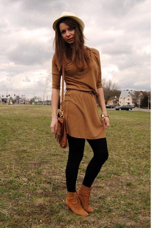 brown New Yorker shoes - light brown Bershka dress - eggshell Bershka hat - blac