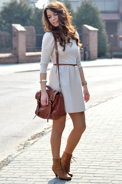 brown H&M bag - tan New Yorker boots - ivory Stradivarius dress
