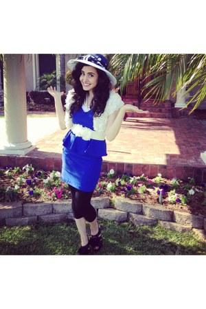 blue Dillards hat - black Antonio Melani shoes - blue Love Culture dress