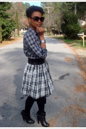 black American Living blouse - thrifted skirt - black Target stockings - Chinese