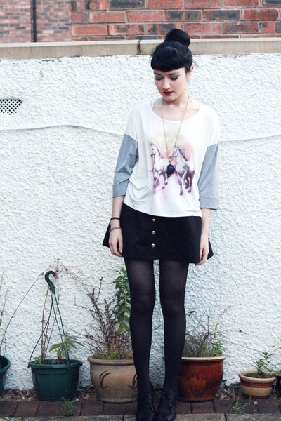 white oversized George top - black high-waisted H&M skirt - black lace-up asos w