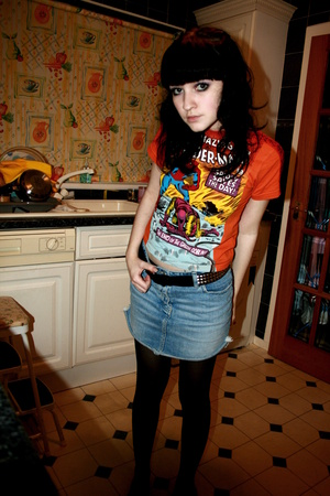 orange spiderman H&M t-shirt - blue denim next skirt - black studded H&M belt