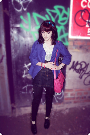 H&amp;M jacket - Miss Selfridge blouse - Topshop skirt - Topshop leggings - Primark 