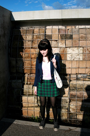 green tartan H&M skirt - black Converse shoes - blue H&M blazer - white H&M vest