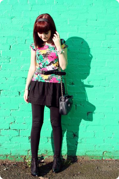 H&M t-shirt - belt - Topshop skirt - Topshop leggings - Office boots -