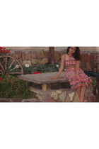 red vintage dress - pink - gold - red - vintage shoes