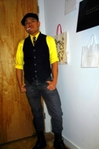 vintage shirt - Uniqlo jeans - Target vest - calvin klein boots - Fred Perry hat