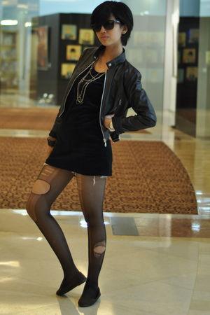 black jacket - black top - black glasses - silver accessories - black stockings