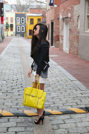 yellow satchel 31 Phillip Lim bag - black blazer Helmut Lang blazer