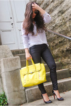 blouse Equipment blouse - skinny Forever 21 jeans - satchel 31 Phillip Lim bag