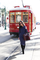 black sam edelman boots - navy Nordstrom dress - ruby red Reed Krakoff bag